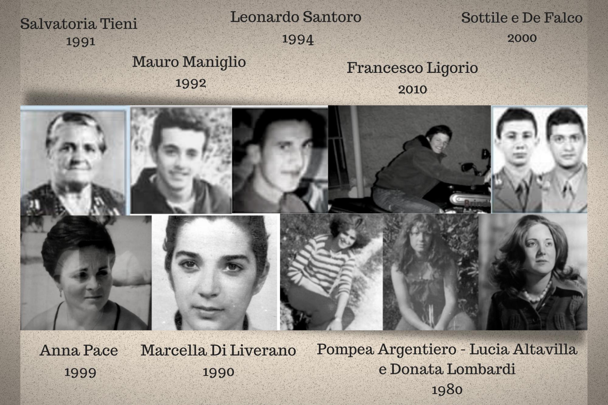 foto delle vittime della mafia nel Brindisino